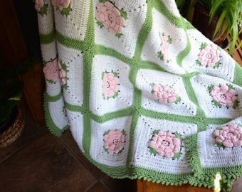 "Hand Crocheted Granny Square Floral Afghan | Pink Floral Crochet Afghan | Large Twin Size Afghan Blanket 85"" x 72"""