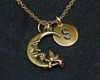 Golden Angel in Moon with Initial necklace, initial charm, personalized jewelry, moon necklace, moon pendant, moon charm
