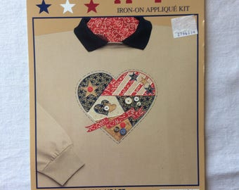 New Large Americana Heart Fabric Iron-On Applique Kit by What's New Ltd. - Red, White, and Blue, Country, Rustic