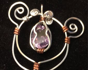Handmade sterling silver wire and amethyst pendant