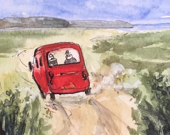 Landscape ORIGINAL Miniature Watercolour 'To the Sea' ACEO Red car, For him, For her, Home Decor Wall Art Gift Idea, Free postage worldwide