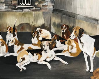 Fox hounds 'Patiently waiting...' Originals Acrylic on canvas