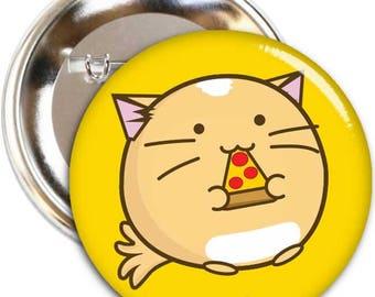 Pizza Cat Fuzzballs Cats Kitten 45mm Button Kawaii Cute Japanese Adorable Gift Idea Metal Pin Present Cuteness Overload Set