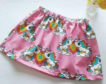 Organic Rainbow unicorn twirly skirt - Girls party skirt - toddler skirt - birthday gift - organic Girls clothing