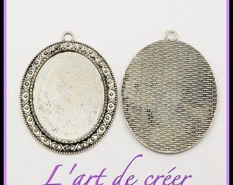 2 medium oval cabochon 30 x 40 mm - silver