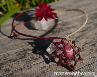 Rhodochrosite & Garnets Macrame Mandala Flower Necklace. Boho Bridal Necklace. Zodiac Necklace. Macrame Birthday Jewelry by Macrame Tralala