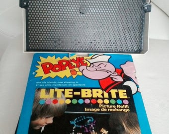 1968 LITE BRITE Vintage Hasbro Light Bright Toys works 20 sheets including Popeye sheets