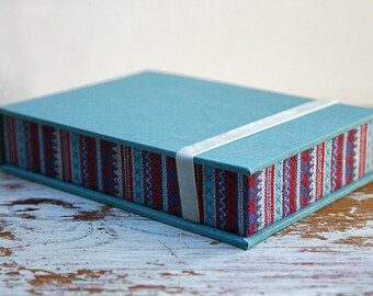 Ethnic Box for Photos 4x6 in - Handmade of book cloth and Tribal/Ethnic fabric| Photo Storage | Presentation Box | Keepsake | Photo Album