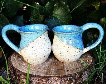 Sky blue earthy pottery mugs