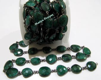 SALE- Briolette Emerald Connector Chain , 12'15mm Size Black Oxidized Emerald Gemstone Bezel Connectors, Rose Cut Jewelry- Sold Per One Foot