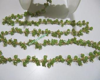 Green Peridot Hydro Quartz Beaded Dangling Chain, AB Mystic Coated Rondelle Faceted Rosary Bead 3mm Chain Sold Per Foot