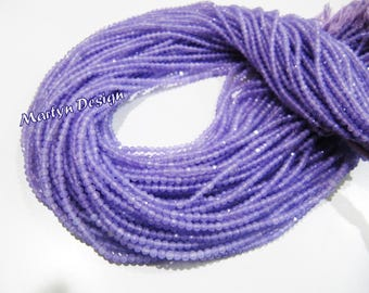 Best Quality Natural Purple Chalcedony Diamond Cut Rondelle Beads , 2mm Size Micro Faceted Chalcedony Beads , Strand 13 inches , Wholesale