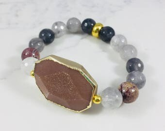 Smokey quartz, rhodenite and moonstone beaded bracelet // Fast and free shipping