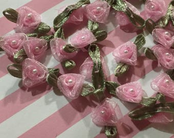 "1""wide Pink Organza Roses & Green Leaves with Pearl Center