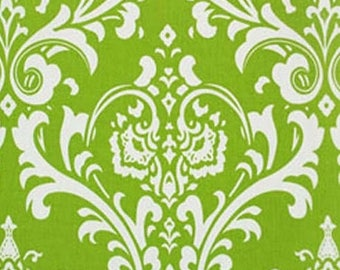 Premier Prints Ozbourne Chartreuse White Damask Fabric By the YARD