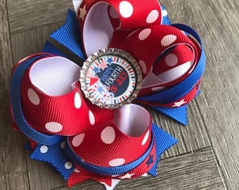 4th of July hair bows, 4th of July bow, patriotic hair bow, red white and blue hair bow, hair bow, bows