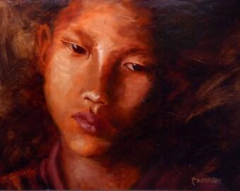 Monk, Original Oil Painting, Portrait of Buddhist Monk, Fine Art Painting, Original Art, Painting for sale