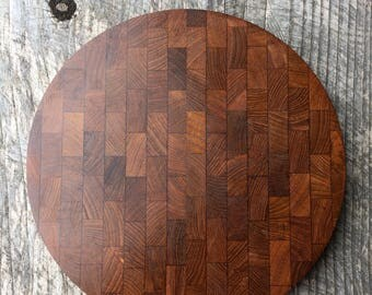 Vintage Teak End Grain Cutting Board or Platter