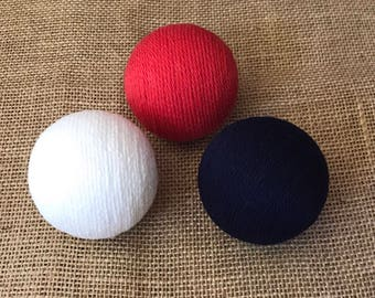 Decorative Yarn Balls; Red, White and Blue Decorative Yarn Balls; Patriotic Yarn Balls; Fourth of July Decorative Yarn Balls; Vase Fillers
