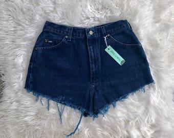 Vintage Lee High Waist Denim Shorts, Distressed Shorts, Festival Shorts, Size 12