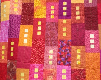 twin bed quilt, single bed quilt, lap throw, modern quilt, red and yellow quilt, pink and purple quilt, red and orange quilt