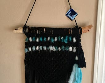 Black Ocean Macrame Wall Hanging
