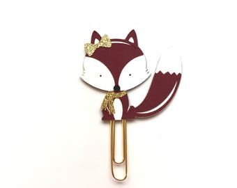 Maroon Fox with scarf Paper Clip