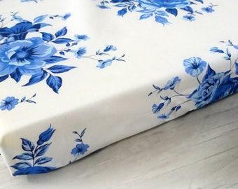 floral crib sheet navy, crib bedding, crib sheet girl, fitted crib sheet, baby crib bedding