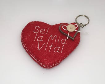 "Key ring love red heart ""you're my life"" - Valentine's day gift idea for him and her"
