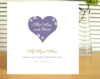 Personalised Best Mum in the World Mother's Day Card