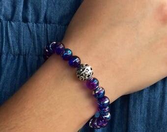 Purple & Blue Swirl Beaded Bracelet