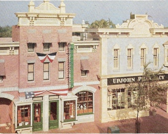 Vintage 1960's Disneyland Postcard Corner of Main St and Center St. by Upjohn Company #B4V