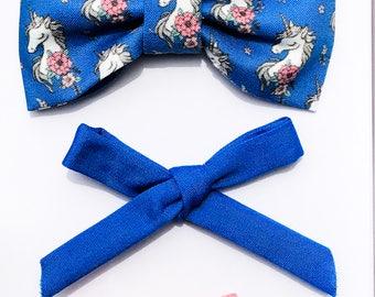 Unicorn Bow & Hair Clip Set