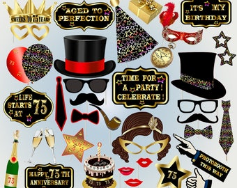 75th birthday props photo booth printable photobooth props birthday party props black and gold props photobooth props lips glasses props