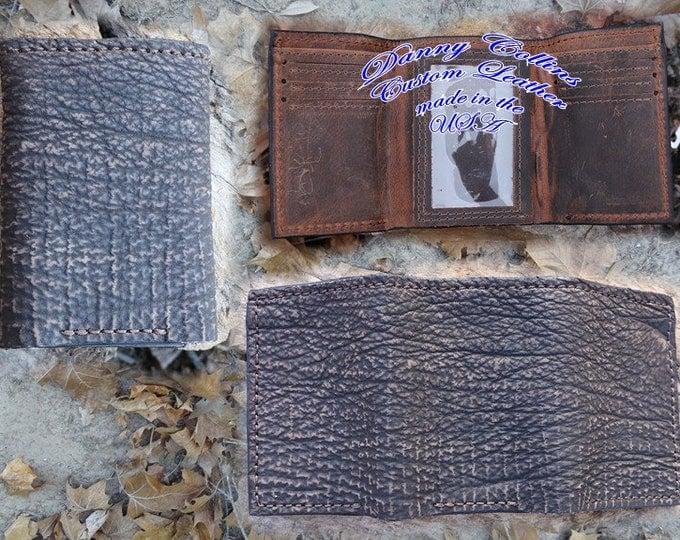Shark leather Tri fold wallet, Leather Tri Fold, Mens Wallet Genuine Shark Leather