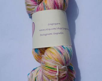 "Hand Dyed Yarn - Hand Dyed Sock Yarn - Superwash Merino ""Tutti Frutti"""