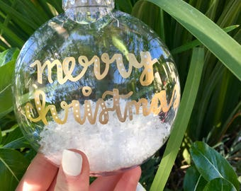 Gold Merry Christmas Ornament with Snow