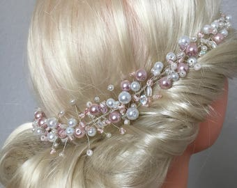 Bridal hair Crown with delicate rose Pearl bridal hair jewelry romantic wedding bridal wreath