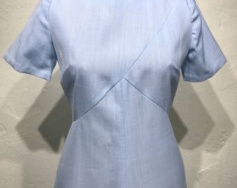 Vintage Sky Blue Midi Dress with Short Sleeves