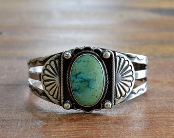 Sterling Silver and Turquoise Vintage Cuff Bracelet