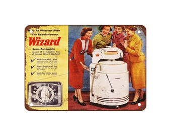 """1940 Western Auto Wiz-O-Matic Washers - Vintage Look Reproduction 9"""" X 12"""" Metal Sign"""