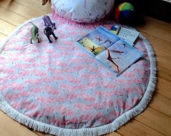 Pink Flamingo Round Play Rug/ Padded Play Mat/Nursery Floor Mat/Hypoallergenic Floor Mat/Tummy Time Floor Mat/Kids Room Play Mat