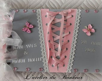 Beautiful book with gray and pink with gold butterfly and lace