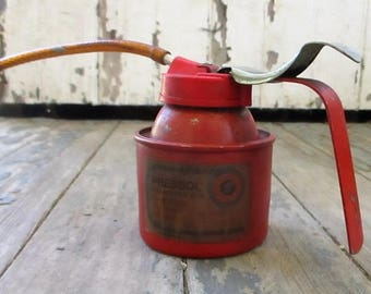 Vintage Pressol Oil Can Flexible Spout German Made Red Oiler Pump Oil Can