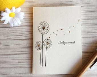 Thank you cards, Blank cards, Thank you so much, Dandelion thank you card set of 6