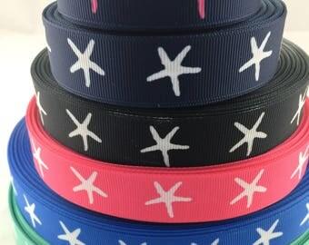 "Sand dollar  ribbons, Beach Grosgrain Ribbon, starfish ribbons, sea shell ribbons,shell ribbons, beach ribbons,7/8"" Grosgrain Ribbons"