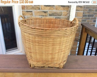CANADA 150 SALE Vintage handwoven basket with handles. Wicker catch all  basket with handles. Vegetable basket. Shoe basket. Storage basket.