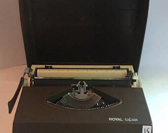 On Sale Mid century portable typewriter. Royal safari portable typewriter. Manual typewriter royal safari IV. Brown RSIV typewriter with cas
