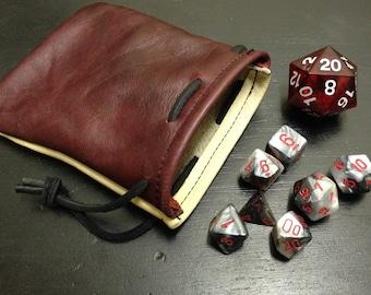 Dice bag, leather dice bag,  drawstring bag, leather bag, small dice bag