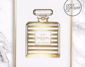 CHANEL No.5 Stripe Bottle - 1 x A4 - Real gold foil print